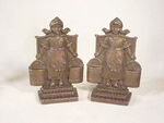 Pair antique cast brass DUTCH GIRL bookends