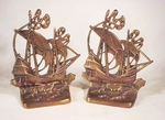Pair antique cast brass GALLEON bookends