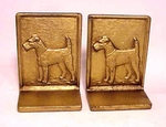 Pair antique cast-iron bookends of TERRIERS
