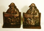 "Pair antique cast iron bookends ""OLD SALT"""