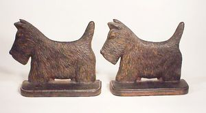 Pair antique cast iron SCOTTY DOG bookends