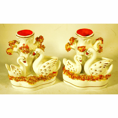 Pair antique English Staffordshire matle pieces of SWANS