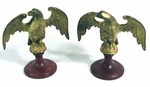 Pair of antique gilded brass eagles.