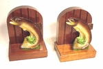 Pair of vintage bookends with TROUT