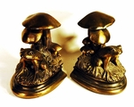 Pair of vintage cast metal bookends FROGS AND TOADSTOOLS