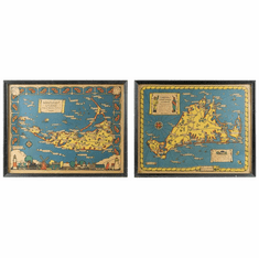 Pair of Vintage Pictorial Maps of Martha's Vineyard & Nantucket by Atherton 1937