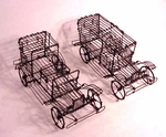Pair of wire sculptured automobiles