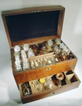Rare 19th C. Ship Doctor's Mahogany  MEDICINE CHEST