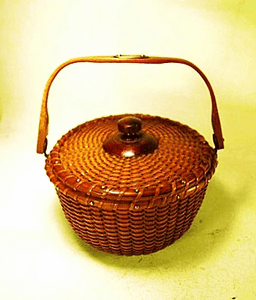 Rare and choice antique COVERED Nantucket Lightship Basket