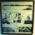 Rare antique Nantucket print framed silk scarf