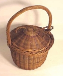 Rare covered willow basket
