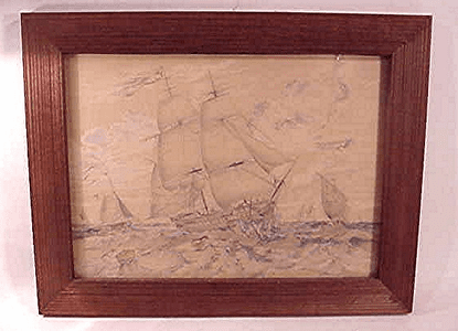 Rare marine drawing by T. Chambers