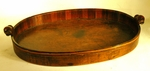 Rare oval two handled wooden tray