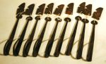 Set of 9 hand forged door latches