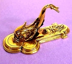 Superb antique brass DOLPHIN LETTER clip