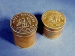 Two antique round brass desk boxes with EAGLES