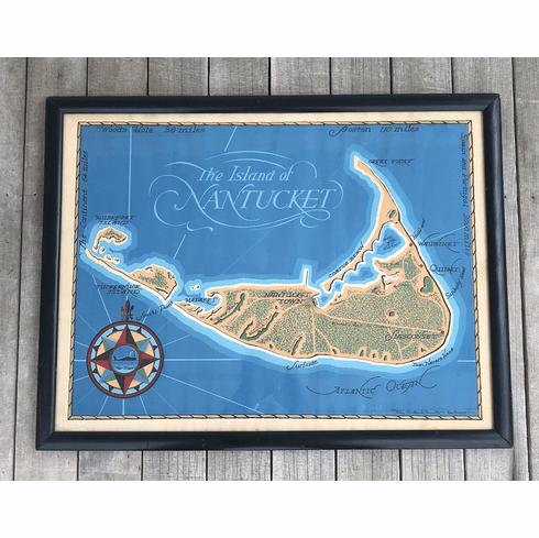 Vintage 1948 Map of Nantucket by Roy Clifford Smith