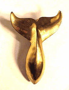 Vintage brass WHALE'S TAIL doorknocker