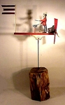 Vintage carved and painted DRUMMER whirligig.