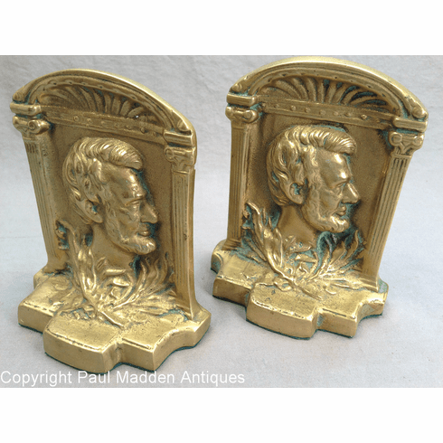 Vintage Cast Brass Lincoln Bookends
