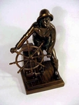 Vintage cast metal fisherman bookend