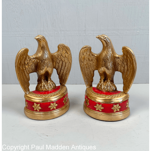 Vintage Eagle Bookends with Red Base by Marion Bronze