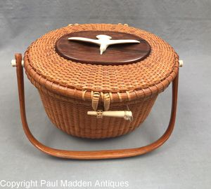Vintage Nantucket Lightship Basket Purse by The Wooden Jug 1972