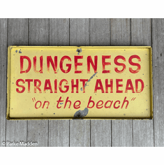 Vintage Painted Metal Sign - Dungeness (Crab) Straight Ahead