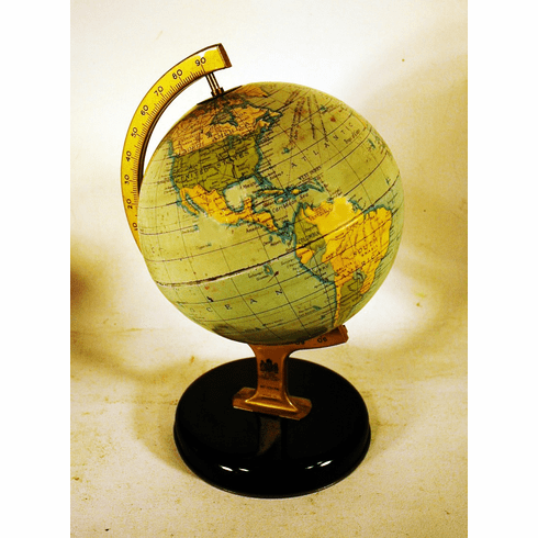 Vintage painted tin GLOBE on stand