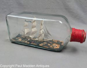 Vintage Ship in Bottle - Whale Ship - Rare!