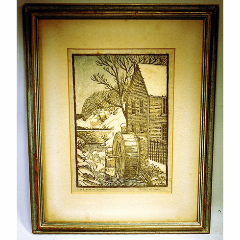 Vintage wood block print of Brewster by Chester Stark