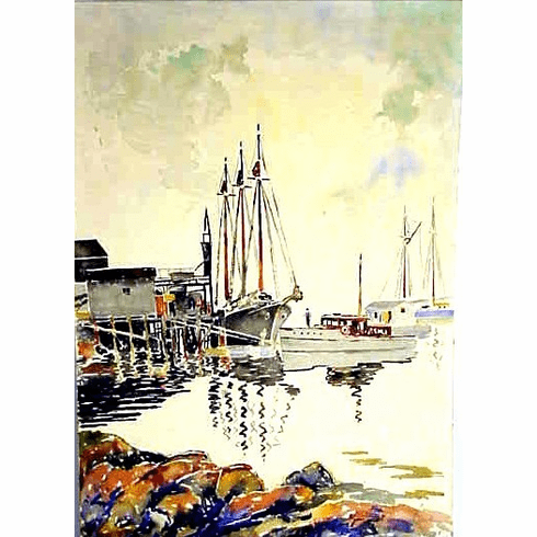 Watercolor on board of harbor by Clark