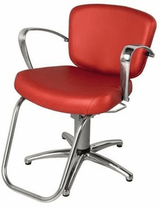 "Collins 8300S ""Milano Hydraulic Styling Chair w/ polished aluminum arms, Slim-Star Base"""
