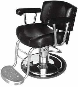 Collins 9020 Continental V Barber or Salon All-Purpose Chair, Logo Footrest with Calf  Bars, Reclining Back.""