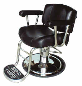 Collins 9030 Continental Barber or Salon Styling Chair, Logo Footrest with Calf Bars, Stationary Back.