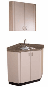 Collins  Corner Private Room Vanity w/ sink and Overhead Cabinet 927-30