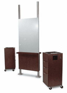 Collins: Free-Standing Amati Mirror Island with back-to-back mirrors & ledges 934-30