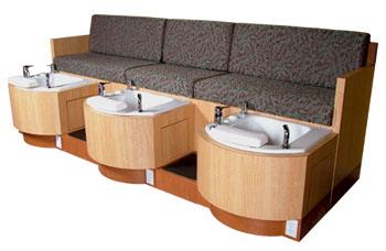 Collins: Special Order Triple Pedicure with Custom Supplied Fabric Bench Seating. 62478.98