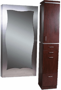Jeffco 348.3 Deco Tower Styling Station w/Deco Wall-Mounted Framed Mirror