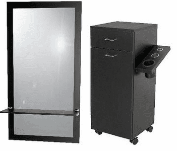 Jeffco  J06 Portable Styling Station w/ Tool Panel & J05 Java Wall Mirror