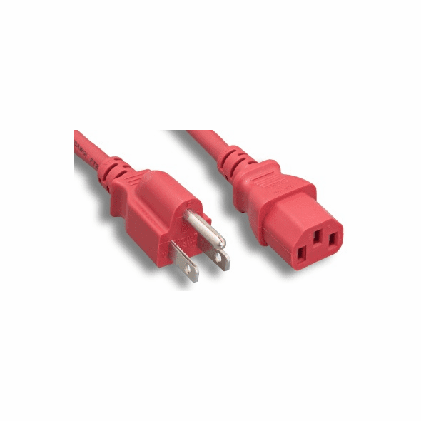 1 Foot 18AWG C13 to 5-15P 10A/125V Red Power Cord