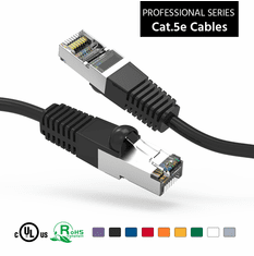 1 Foot CAT 5e Shielded ( STP) Ethernet Network Booted Cable -  Black - Ships from Vendor