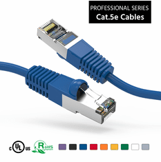 1 Foot CAT 5e Shielded ( STP) Ethernet Network Booted Cable -  Blue - Ships from Vendor