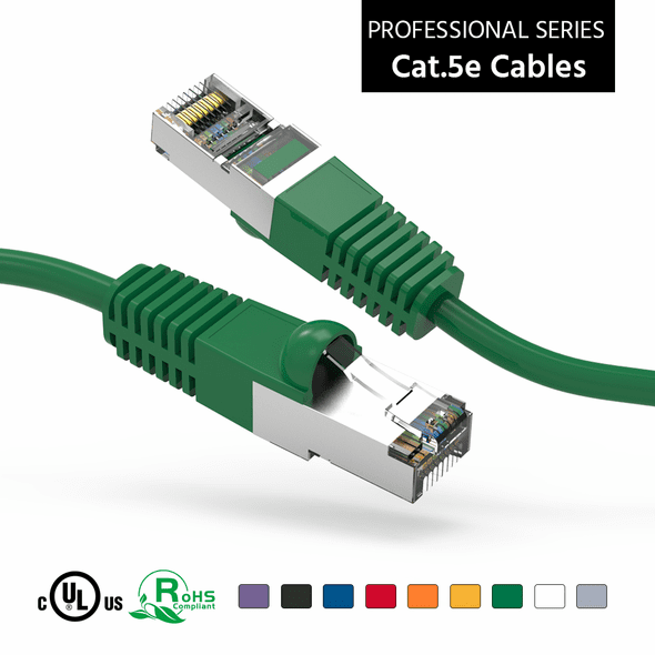 1 Foot CAT 5e Shielded ( STP) Ethernet Network Booted Cable -  Green - Ships from Vendor