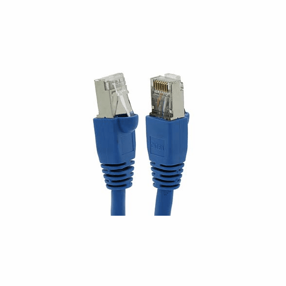 1 Foot Cat6A Shielded (SSTP) Ethernet Network Booted Cable Blue - Ships from California