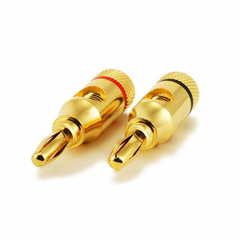 1 Pair of High Quality Copper Speaker Banana Plugs - Open Screw Type