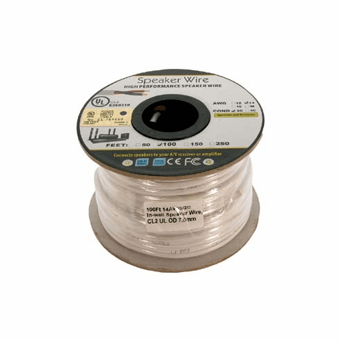 100 Foot 14AWG 2 Conductor In-wall Speaker Wire, OFC CL2 UL White Jacket