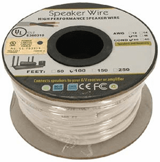 100 Foot 16AWG 2 Conductor In-wall Speaker Wire, OFC CL2 UL White Jacket