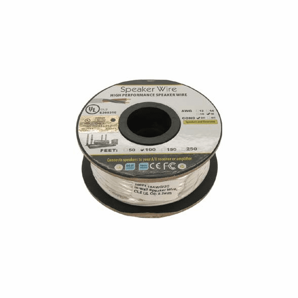 100 Foot 18AWG 2 Conductor In-wall Speaker Wire, OFC CL2 UL White Jacket