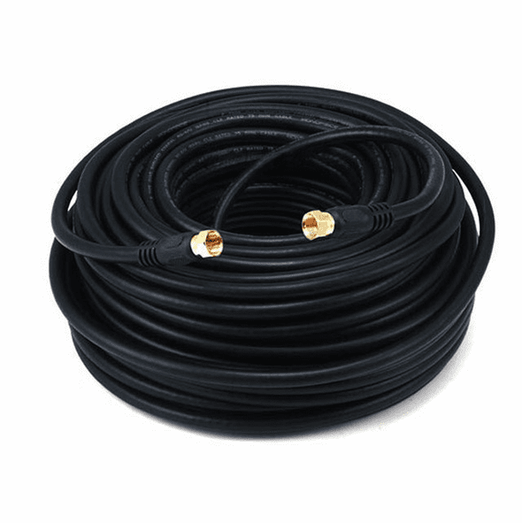 100 Foot Premium 18AWG RG6 CL2 (In-Wall) Quad Shield Gold Plated Coax Cable - Black